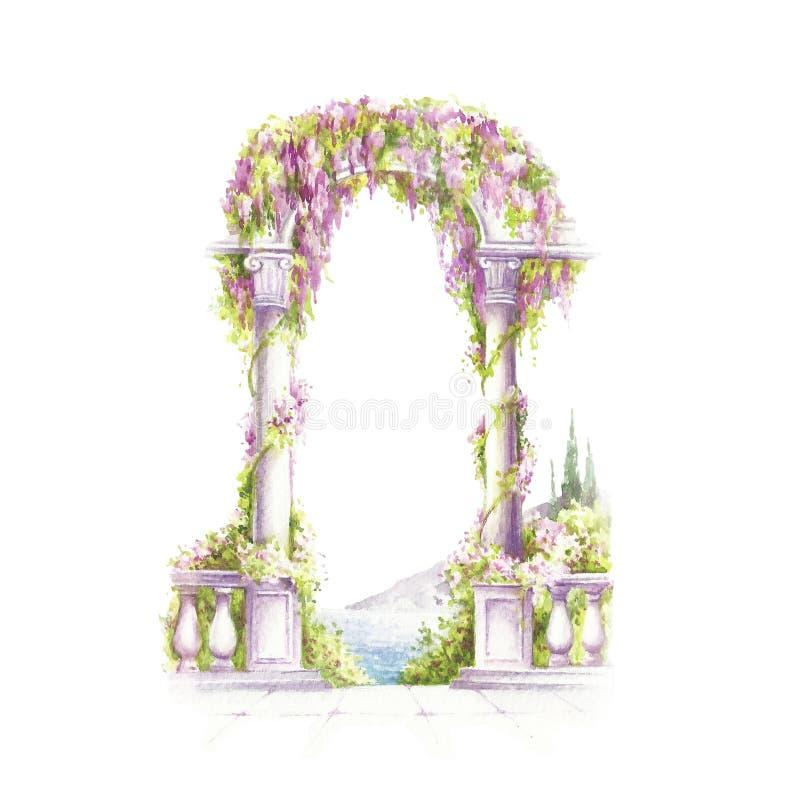 与花的曲拱在老牌 手凹道水彩例证 库存例证