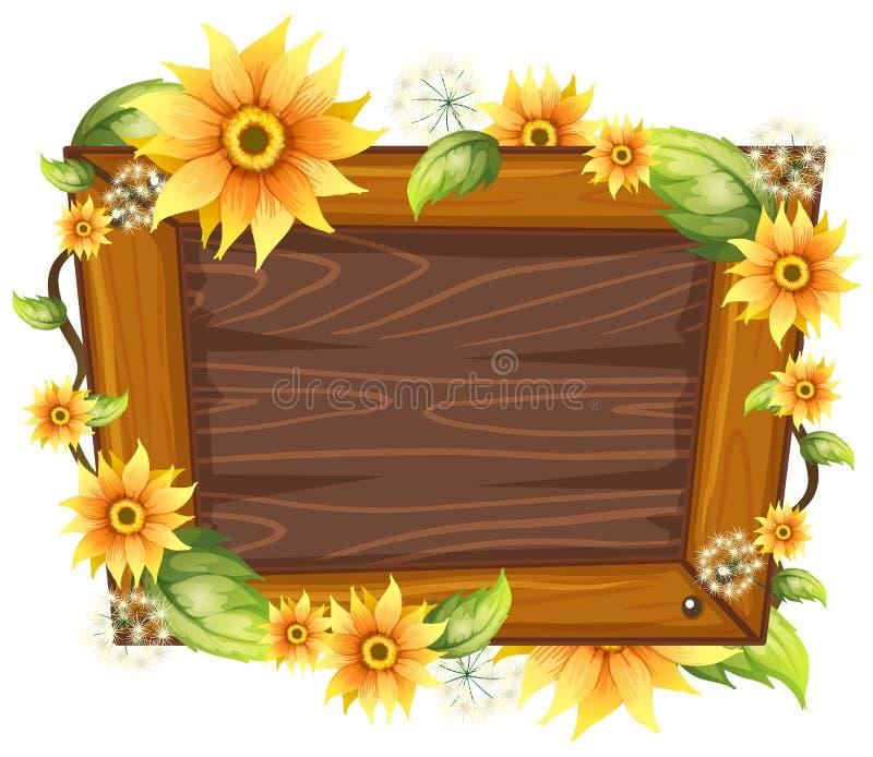 与花的木制框架 向量例证