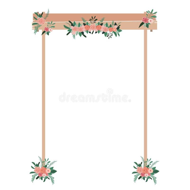 与花的木曲拱 皇族释放例证