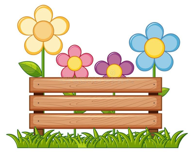 与花的木标志在庭院里 向量例证
