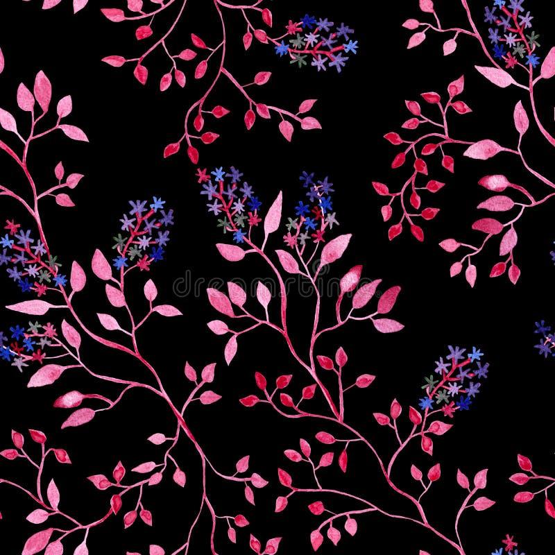 与花的桃红色分支,水彩绘画-在黑背景的无缝的样式 向量例证