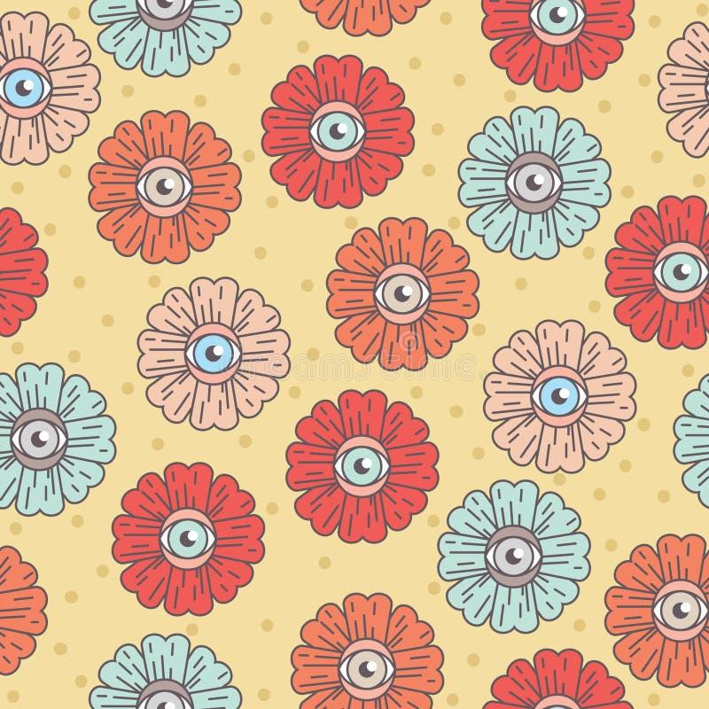 与花的模式 眼睛雏菊 向量例证