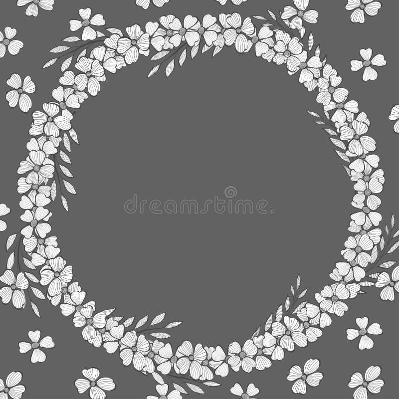 与花的模板 花花圈与一个地方的您的文本的 单色传染媒介例证 皇族释放例证