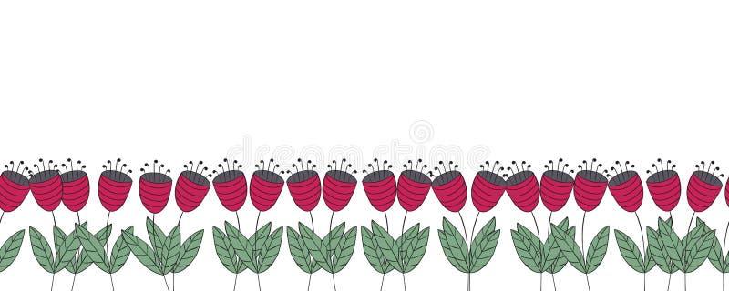 与花的横幅 红色平的风铃草无缝的边界 向量例证