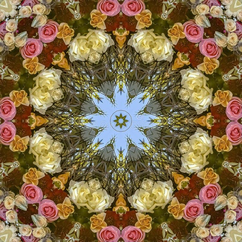 与花的正方形五颜六色和繁忙的设计从婚礼 免版税库存照片