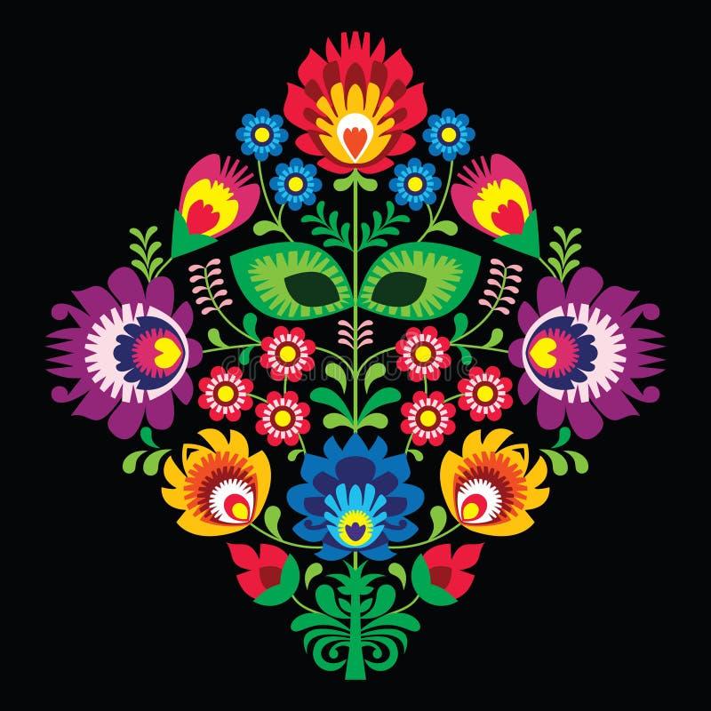 与花的民间刺绣-在黑背景的传统波兰样式 向量例证