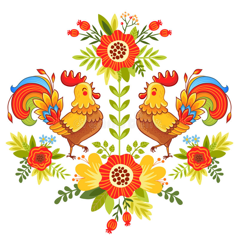 与花的民间装饰品,传统样式 库存例证