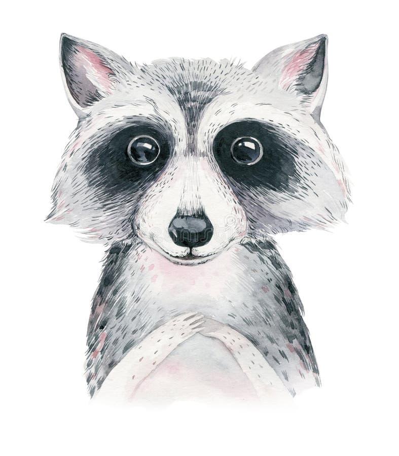 与花的水彩动画片被隔绝的可爱宝贝浣熊动物 森林托儿所森林地例证 漂泊boho 库存例证