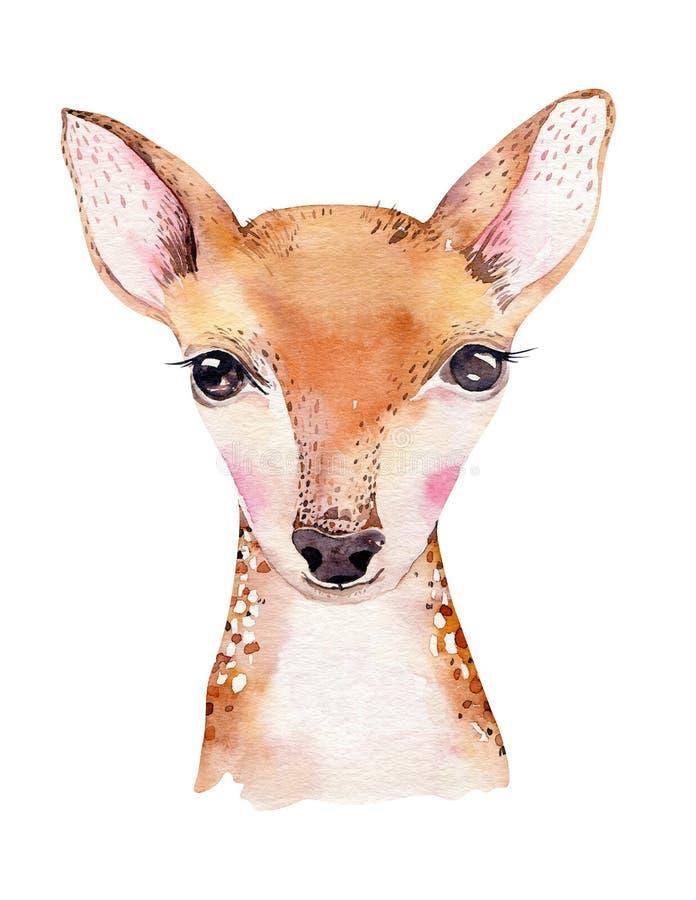 与花的水彩动画片被隔绝的可爱宝贝鹿动物 森林托儿所森林地例证 漂泊boho 库存例证