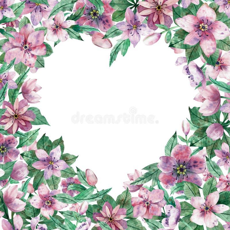 与花的水彩桃红色花卉心脏框架和文本的中央白色拷贝空间 装饰圣诞节上升了 库存例证