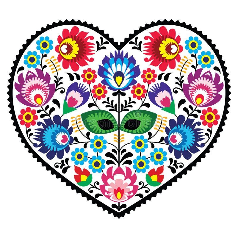 与花的波兰民间艺术艺术心脏刺绣- wzory lowickiee 向量例证