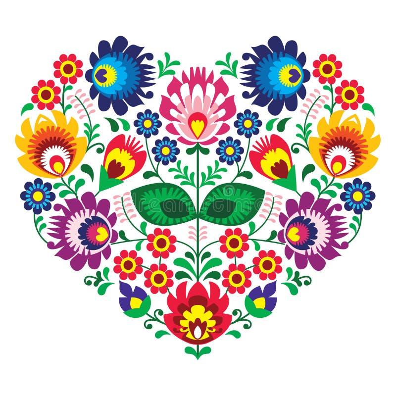 与花的波兰olk艺术艺术心脏刺绣- wzory lowickie 皇族释放例证