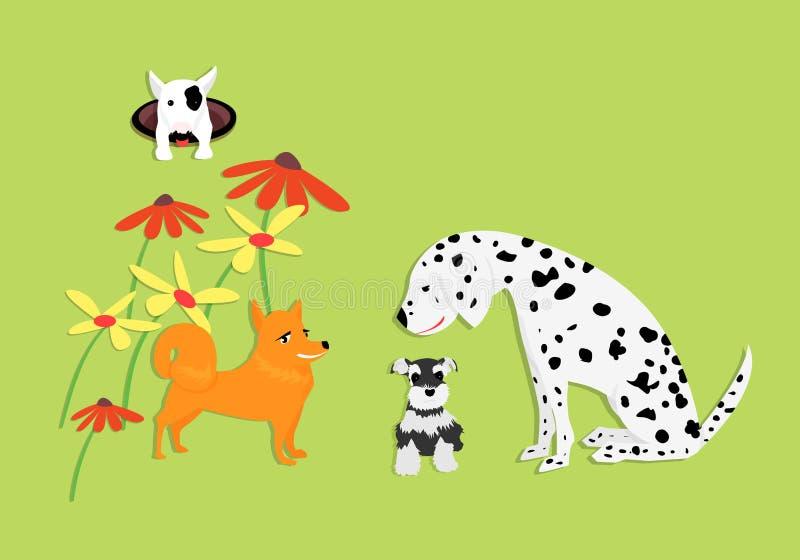 与花的滑稽和逗人喜爱的狗在绿色 库存例证