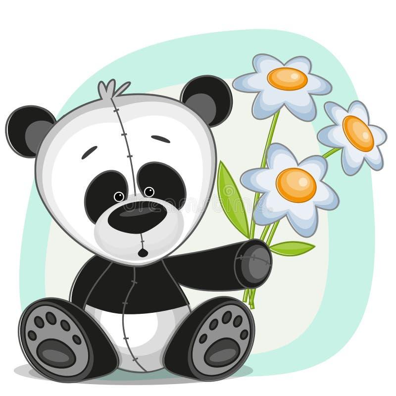 与花的熊猫 皇族释放例证