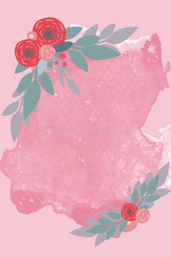 与花的珊瑚框架 免版税库存照片