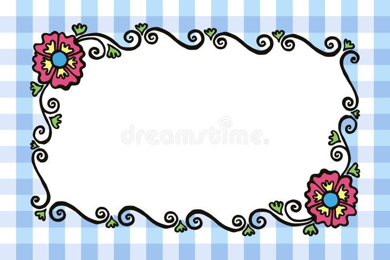 与花的简单的长方形色的被绘的传染媒介框架和.图片