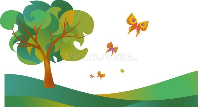 与花的结构树 向量例证