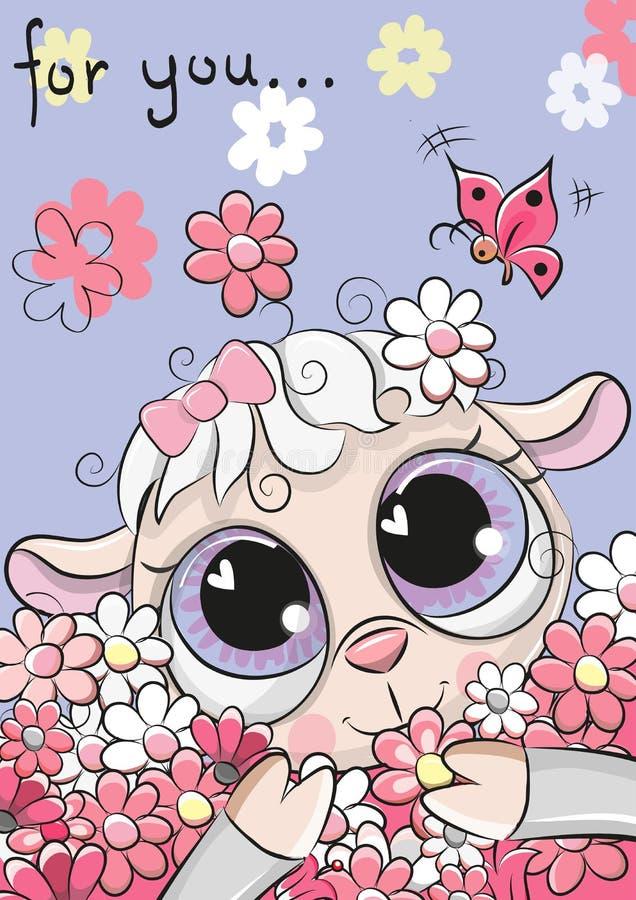 与花的绵羊在蓝色背景 免版税库存照片