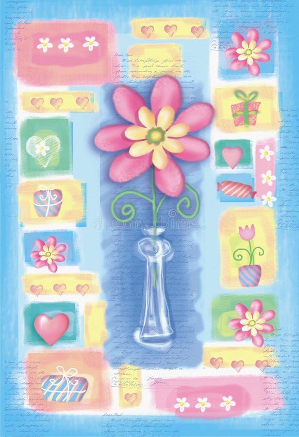 与花的美丽的手拉的卡片在花瓶 库存例证