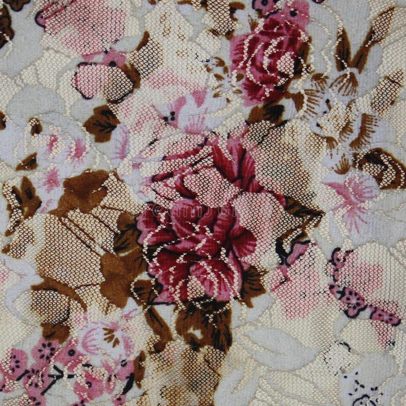 与花的美丽的织品。鞋带。 免版税库存照片