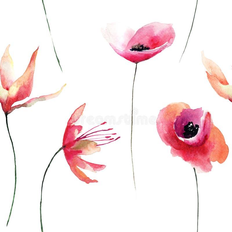 与花的花卉无缝的样式,水彩例证 向量例证