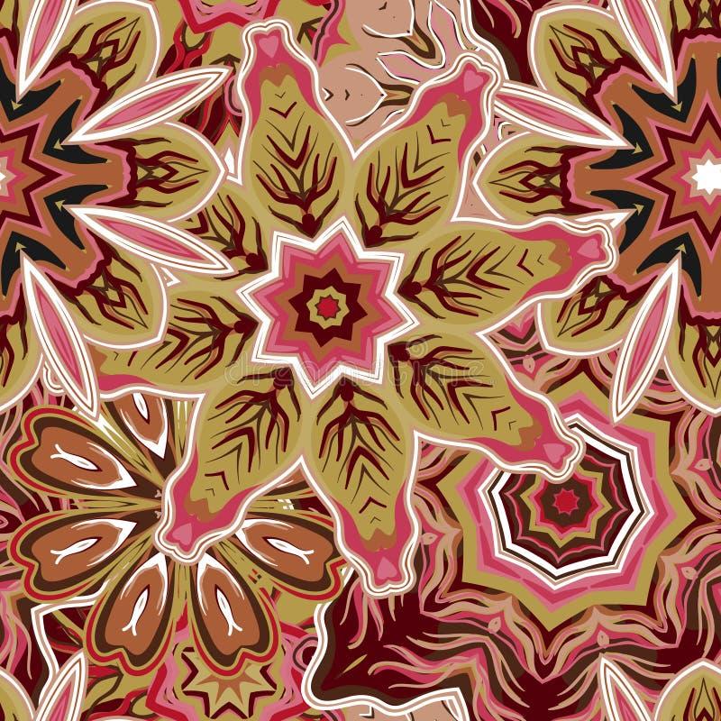 与花的花卉无缝的样式 皇族释放例证
