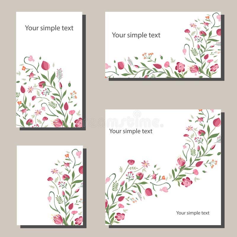 与花的花卉春天模板 对浪漫和复活节春天设计,公告,贺卡,海报 向量例证