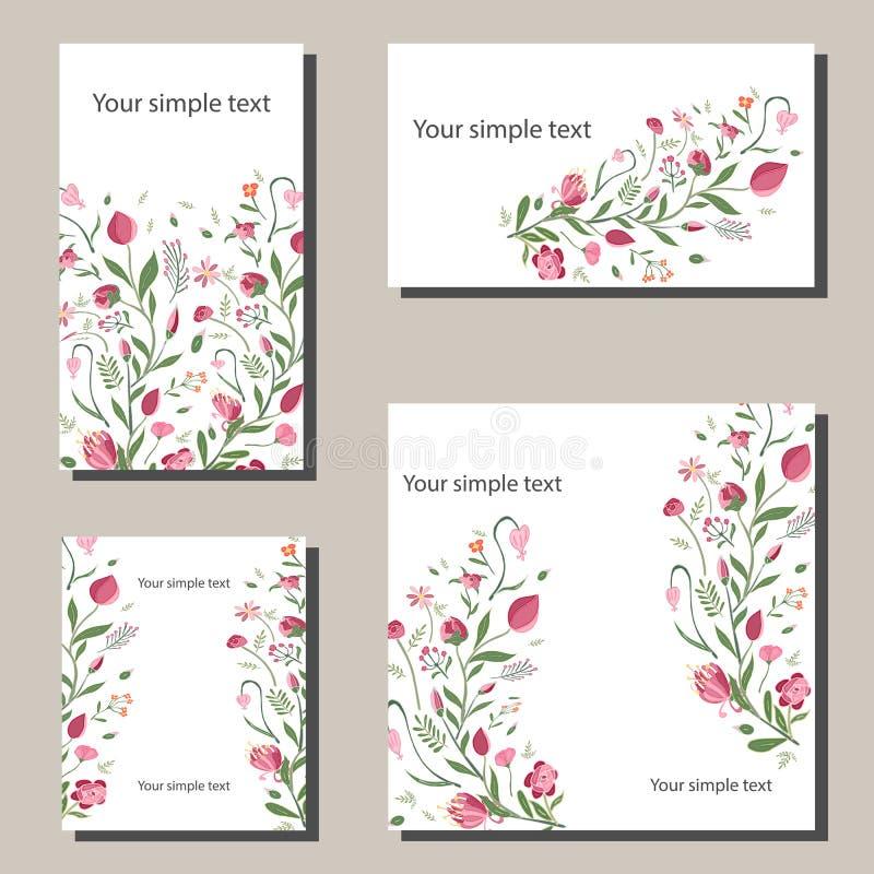 与花的花卉春天模板 对浪漫和复活节春天设计,公告,贺卡,海报 库存例证