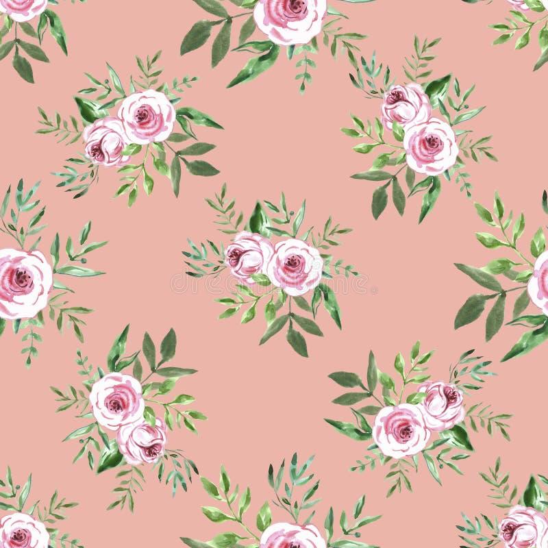与花的花装饰无缝的样式 向量例证
