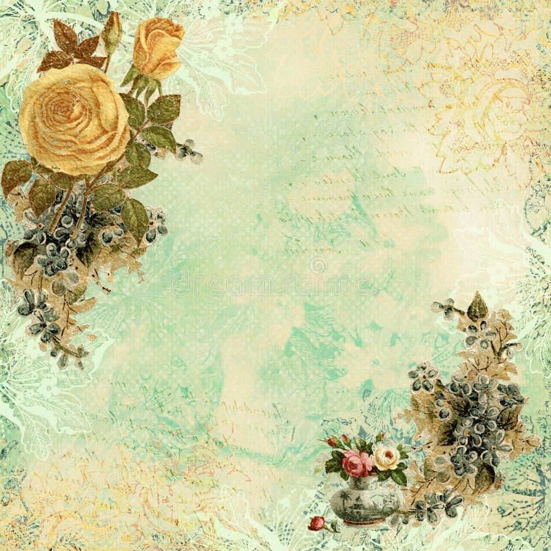 与花的葡萄酒破旧的别致的背景 向量例证