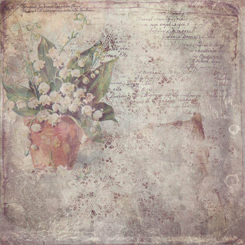 与花的葡萄酒纸 免版税图库摄影