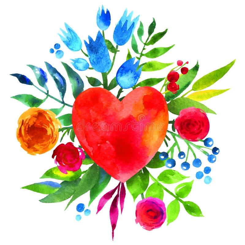 与花的葡萄酒背景在爱和花心脏,美丽的水彩花卉心脏 爱心脏象 夏天植物的ele 皇族释放例证
