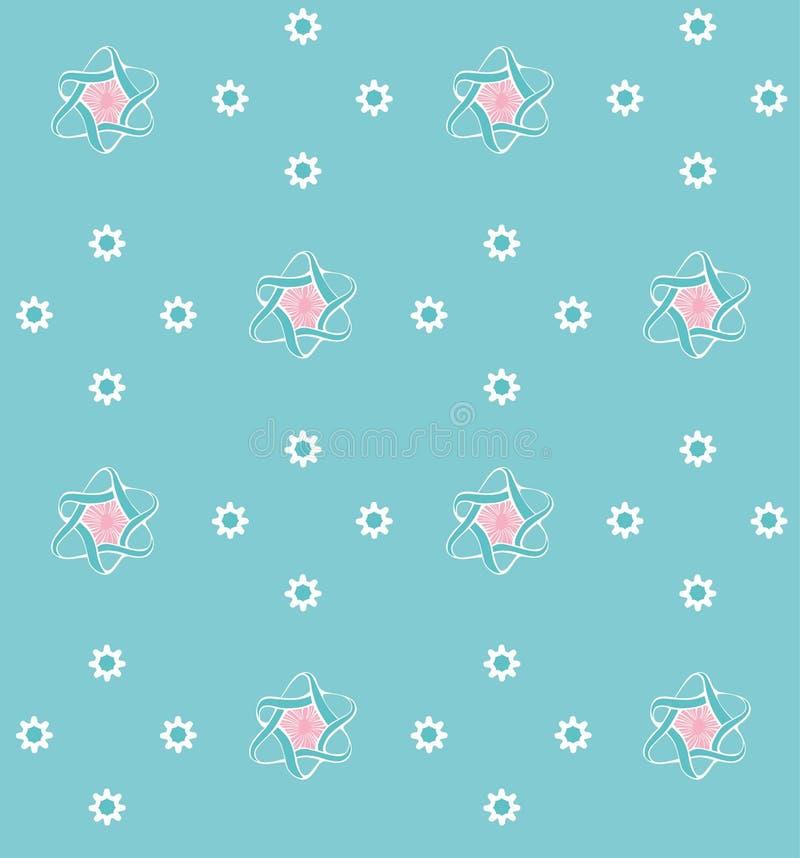 与花的蓝色模式 免版税库存图片