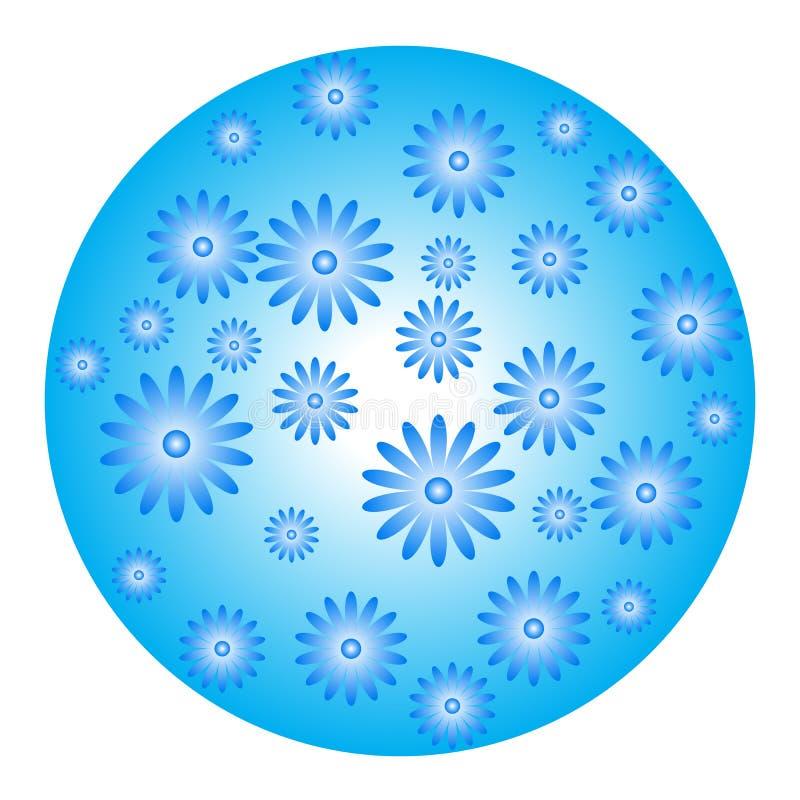 与花的蓝色球形 免版税库存照片