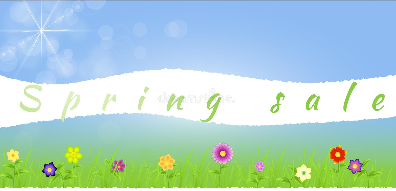 与花的被撕毁的纸中间春天风景 皇族释放例证