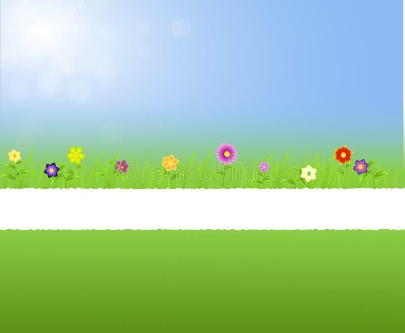 与花的被撕毁的纸中间春天风景 向量例证