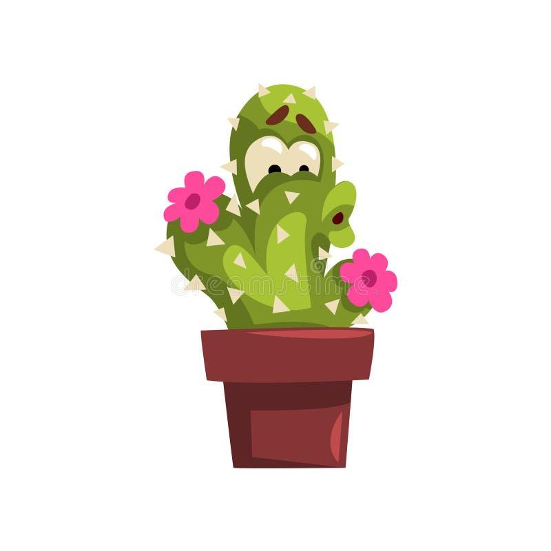 与花的逗人喜爱的仙人掌字符,有滑稽的面孔的多汁植物在花盆在白色的传染媒介例证 库存例证
