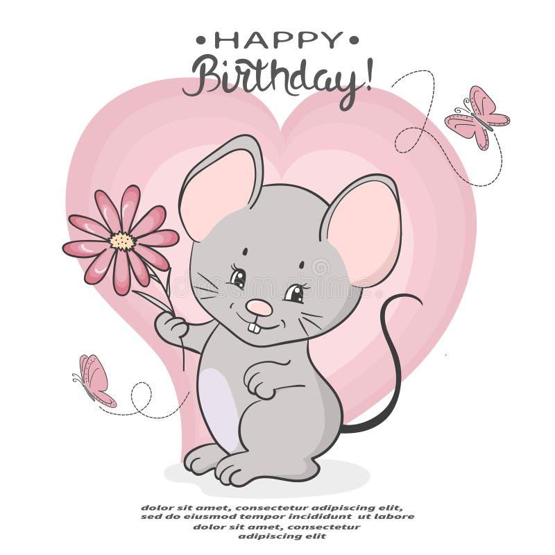 与花的逗人喜爱的动画片老鼠 愉快的生日贺卡 向量例证
