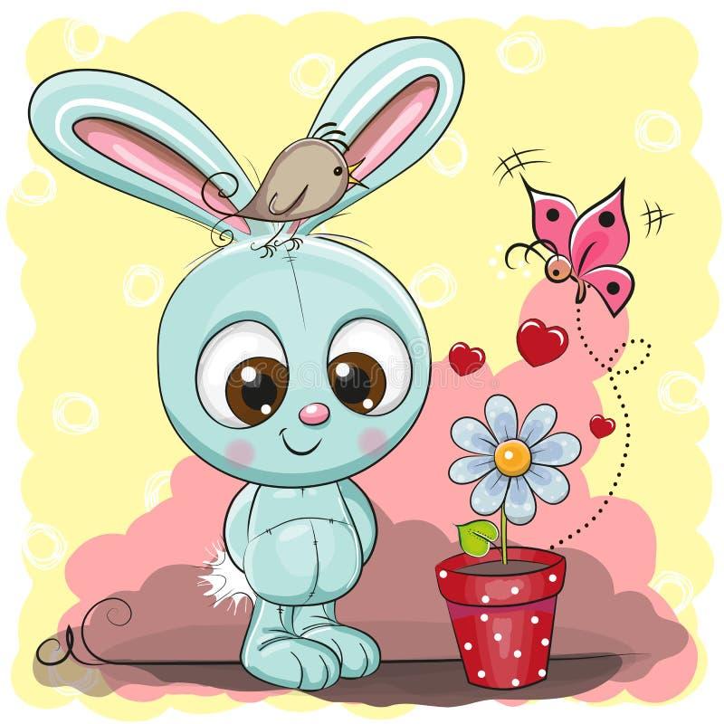与花的逗人喜爱的动画片兔子 库存例证