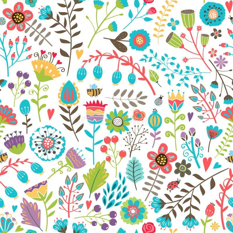 与花的逗人喜爱的无缝的样式 向量例证
