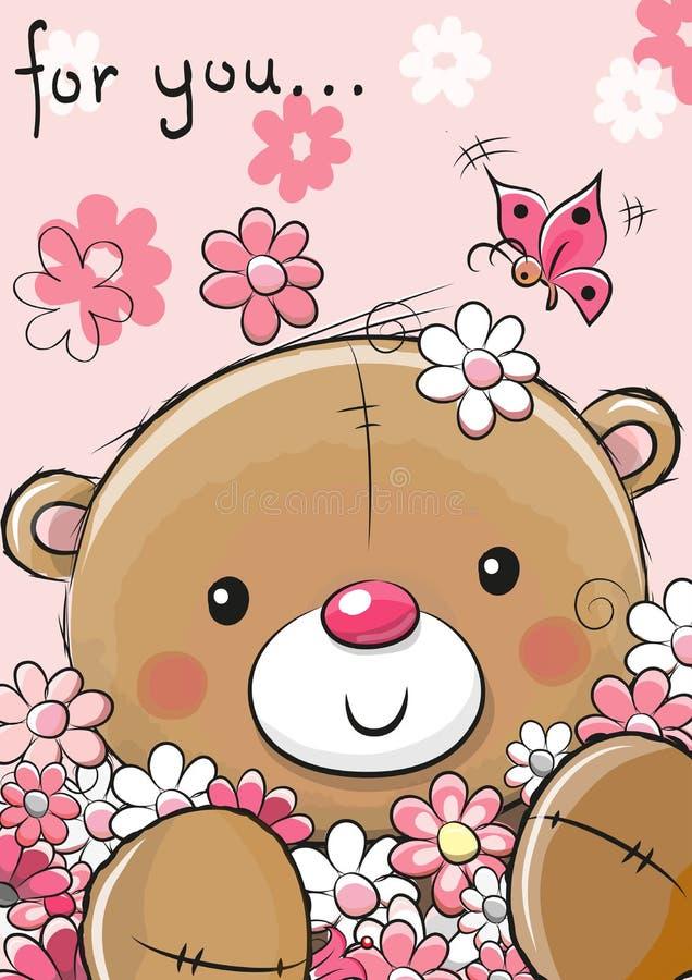 与花的逗人喜爱的玩具熊 向量例证