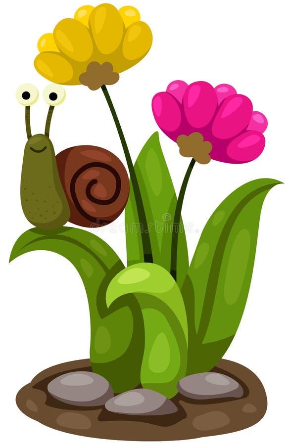 与花的逗人喜爱的蜗牛 库存例证