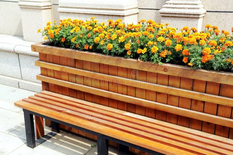 与花的长凳 免版税库存照片