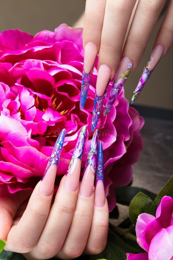 与花的长的美好的修指甲在女性手指 钉子设计 特写镜头 库存图片