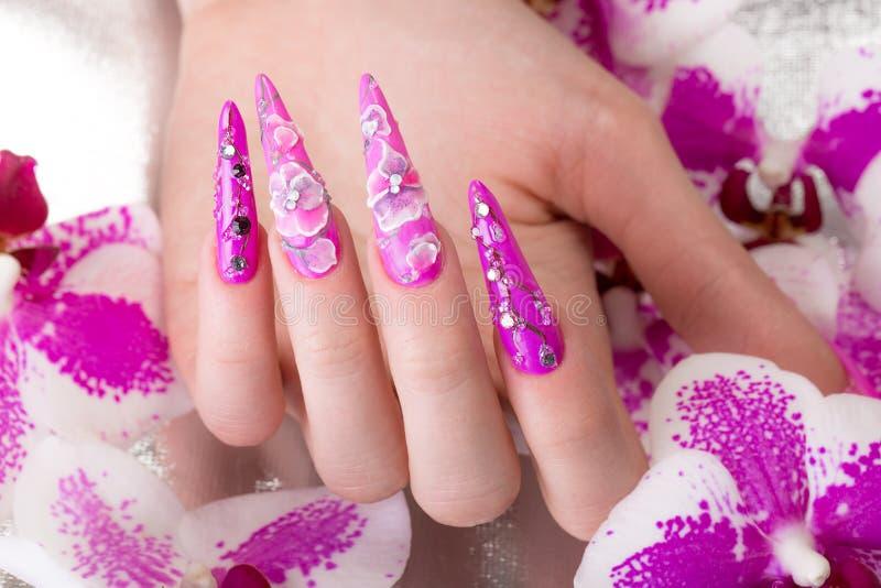 与花的长的美好的修指甲在女性手指 钉子设计 特写镜头 库存照片