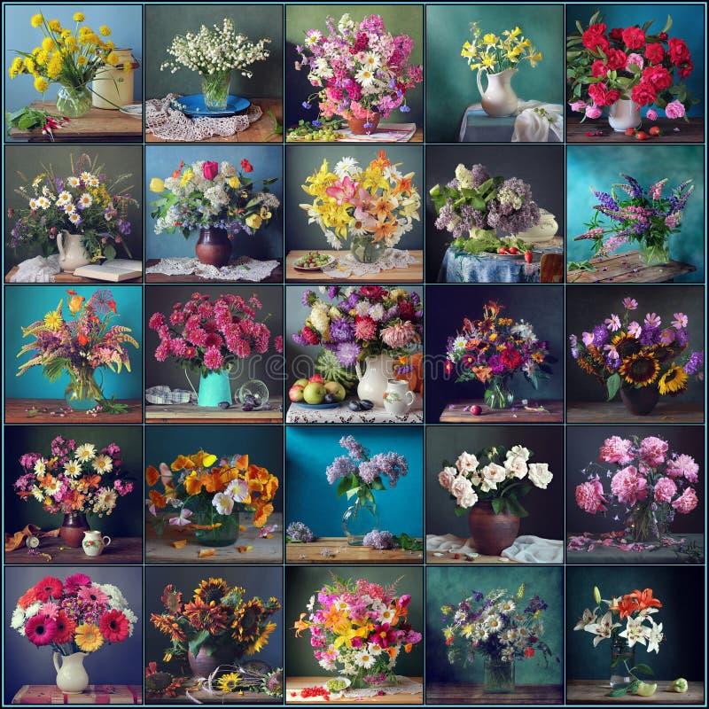 与花的静物画在蓝色和绿色背景,拼贴画 免版税库存图片
