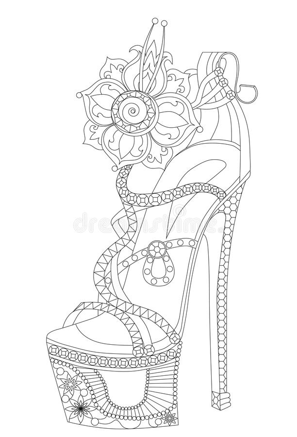 与花的鞋子 成人的彩图 库存例证