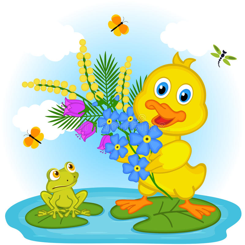 Download 与花的鸭子 向量例证. 插画 包括有 字符, 池塘, 双翼飞机, 例证, 春天, 蝴蝶, 青蛙, 植物群 - 72351977