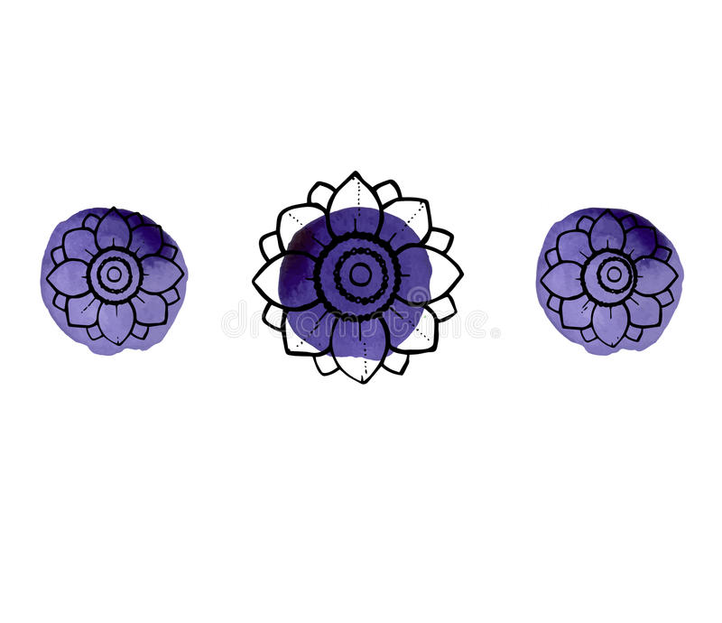 与花的水彩飞溅 免版税库存照片