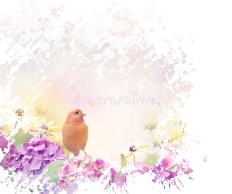 与花的黄色鸟 皇族释放例证